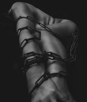 Girl, Body, Hand, Flower, Chains