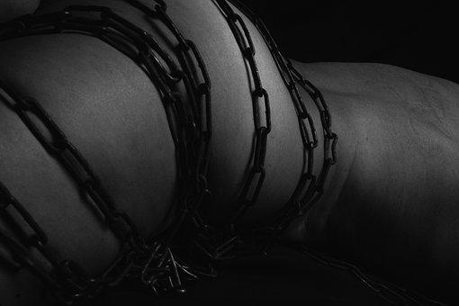 Girl, Body, Hand, Flower, Chains, Art