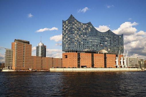 Hamburg, Elbphilharmonie, Architecture, Building, Elbe