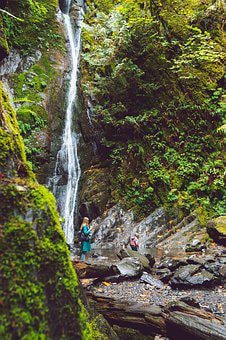 Daughter, Mother, Waterfall, Landscape, Outdoors, Fall