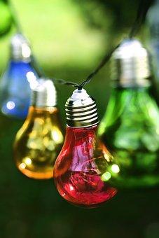 Light Bulbs, Colorful, Lamps, Light, Energy