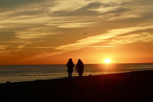 Sunset, Romantic, Couple, Marriage, Love, Passion, Walk
