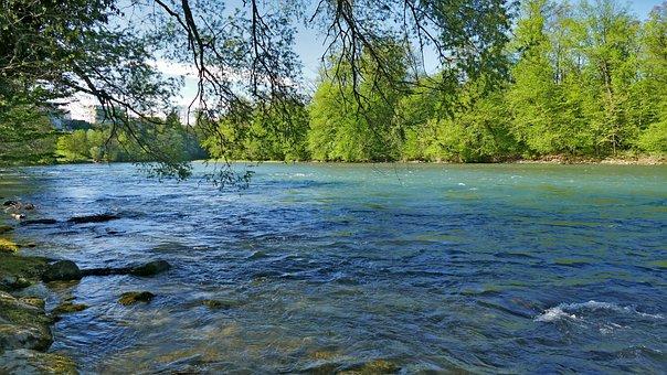 Landscape, Nature, River, Reuss, Switzerland, Aargau