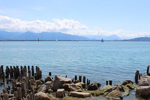 Lake Constance, Lake, Bank, Sky, Nature, Landscape