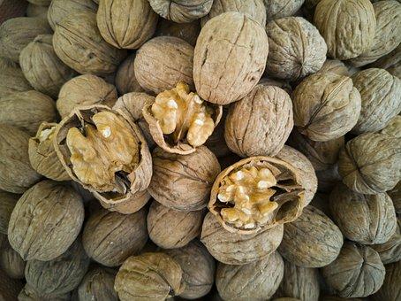 Walnut, Dried Fruits And Nuts, Shelled, Macro