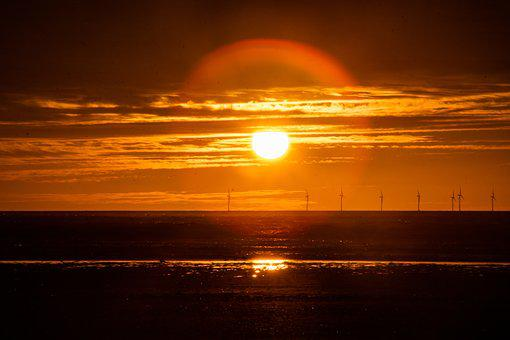 Sunset, Sea, Clouds, Orange, Wind Turbines, Dusk, Beach