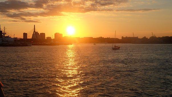 Boston, Sunset In Boston, Boston At Sunset, Sun, Sunset
