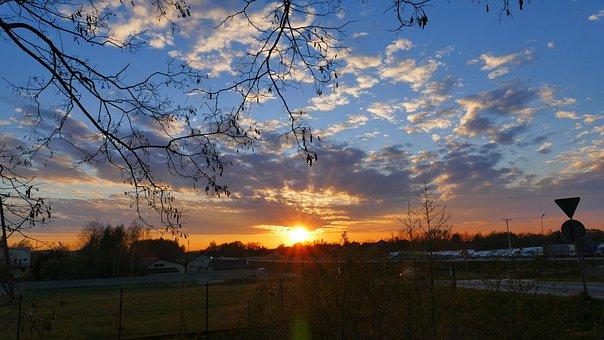 Sunset, Sky, Clouds, The Sun, The Rays, Twilight, Mood