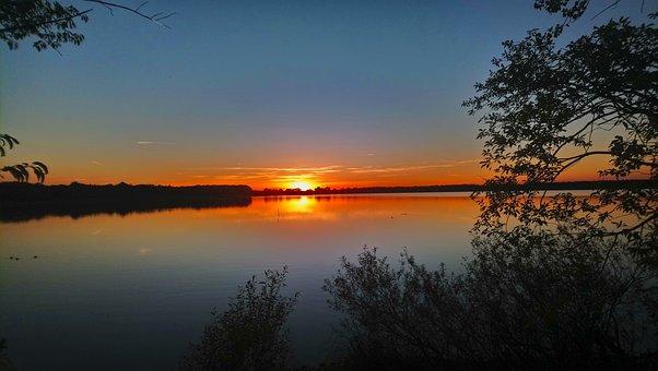 Sunset, Lake, Sun, Mood, Evening, Sky, Water, Landscape