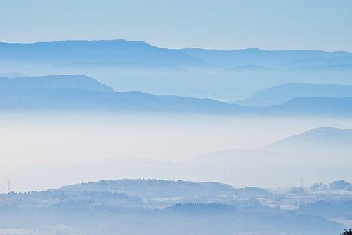 Forest, Landscape, Fog, Haze, Nature, Idyllic, Blue