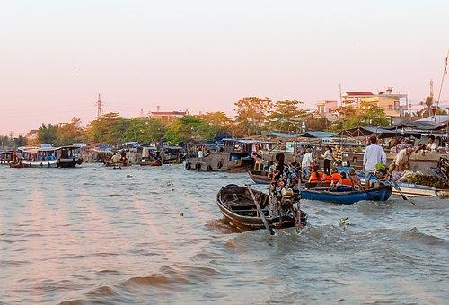 Can Tho, Cai Rang, River, Landscape, Dawn
