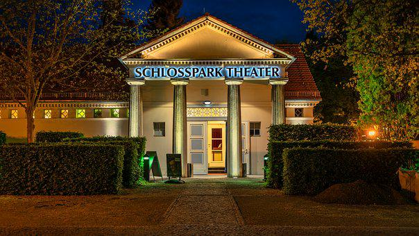 Theater, Berlin Night, Evening, Darkness, Facade