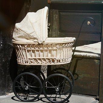 Stroller, Old, Antique, Nostalgia, Vintage, Flea Market