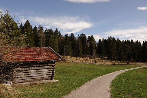 Karwendel, Tennsee, Trail, Landscape, Hut, Mountains