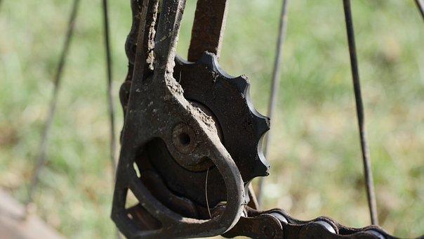 Gear, Chain, Technology, Machine, Rust, Industry