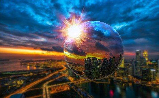 Ball, Glass, Glass Ball, Background, City, Round