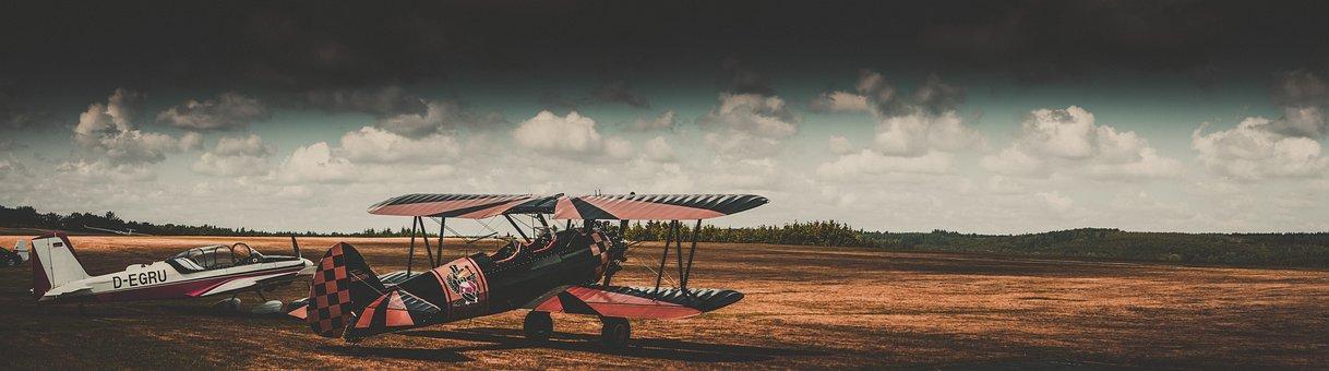 Panorama, Aircraft, Landscape, Mystical, Nature, Sky