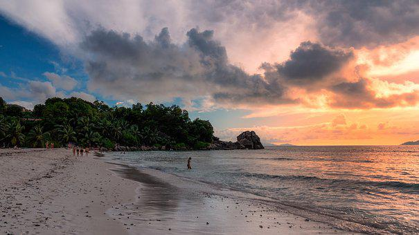 Seychelles, Paradise, Sunset, Beach, Tropical, Sea