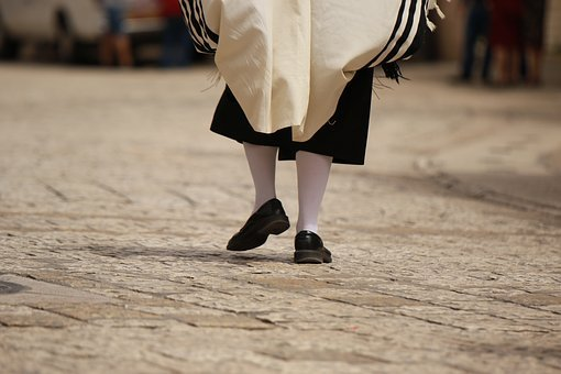 Man, Religious, Jewish, Clothing, Tallit, Shoes, Walk
