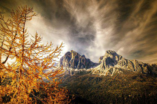 Autumn, Tofane, Nature, Clouds, Rock, Dolomites