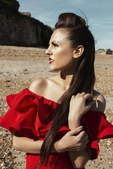 Profile, Girl, Woman, Beach, Sunshine, Red, Hot, Model