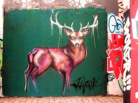 Graffiti, Hirsch, Antler, Mural, Street Art