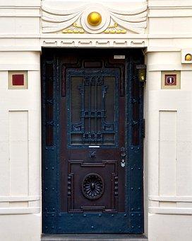 Art Nouveau, Door, Door Hardware, Artfully, Wood, Input