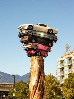 Cars, Tower, Art, Modern, Bizzar, Urban, City, Creation