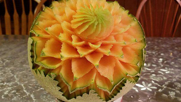 Cantaloupe Carving, Fruit Carving, Decoration, Creation