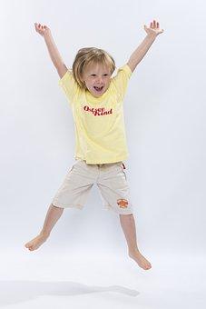 Child, Jumps, Laughing, Cheerful, Good Mood, Fun