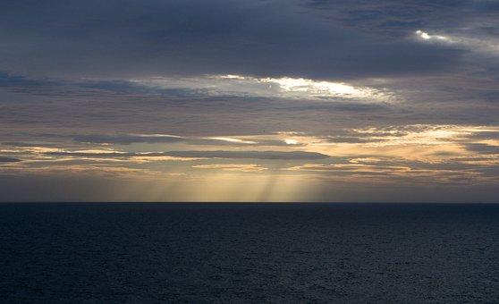 Sunrise, Tynemouth, Sea, Clouds, United Kingdom, Light