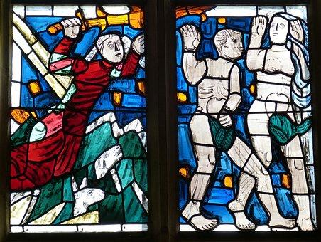 Adam, Eva, Adam And Eve, Stained Glass, Church, Bible