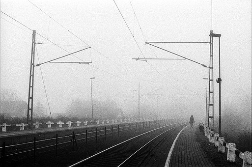 Fog, Train Station, Moody, Black And White, Alone