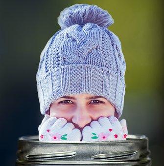 Girl, Beauty, Portrait, Winter, Smile, Snowflakes