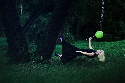 Levitation, Weightlessness, Girl, In The Forest, Forest