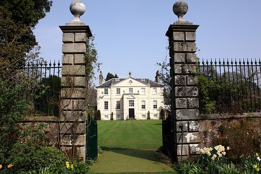 House, Victorian, Georgian, Posts, Gate, Grass, Sky