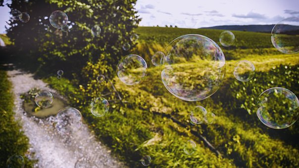 Bubbles, Grass, Meadow, Grass Track, Realistic Bubbles