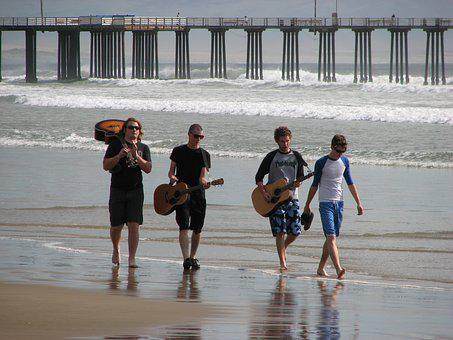 Musicians On The Beach, Music Band, Instrument, Casual