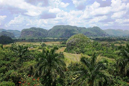 Cuba, Landscape, Trees, Inselbergs Curiosities, Clouds