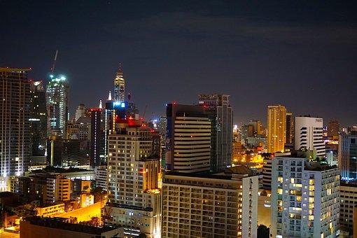 City, Night, Bangkok, Skyscrapers, Towers, Lit