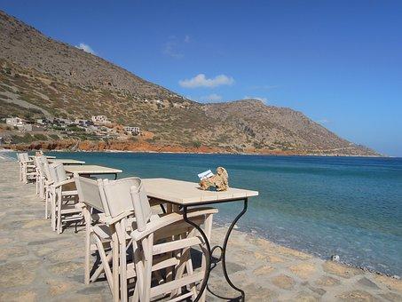 Crete, Table, Ch, Greece, Mediterranean, Chair, Water