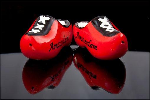 Amsterdam, Holland, Lump, Wooden Shoe, Miniature, Red