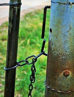 Farm Gate, Gate, Post, Pole, Metal, Rust, Chain, Secure