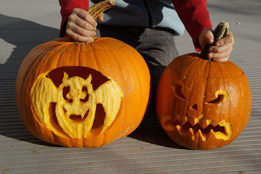 Bat, Halloween, Pumpkin, Pumpkin Ghost, Carved, Art