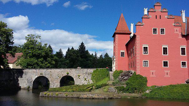 Red, Castle, Architecture, Czech, Travel, Chateau