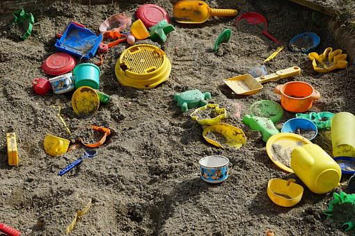 Sand, Box, Play, Toys, At The Beginning, Beginning