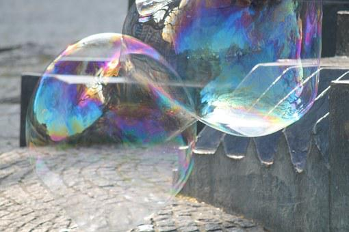 Soap Bubbles, Colorful, Shimmer, Huge, Wabbelig