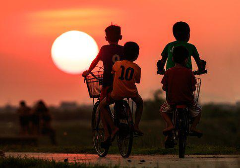 Boy, Sun, Summer, People, Sunset, Bicycle