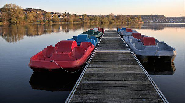 Boat Dock, Pedal Boats, Lake, Morning, Water