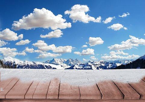 Clouds, Mountains, Snow, Background, Landscape, Nature
